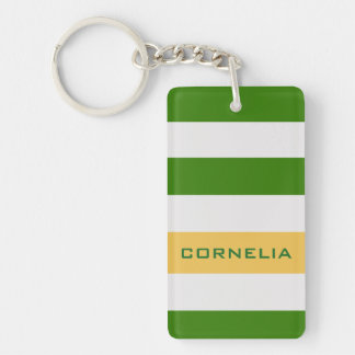 Colorful Bold Green Stripes with Custom Name Keychain