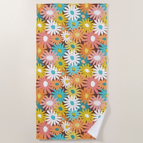 Colorful bold massed daisies beach towel