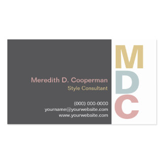 Colorful Bold Monogram Business Card Template