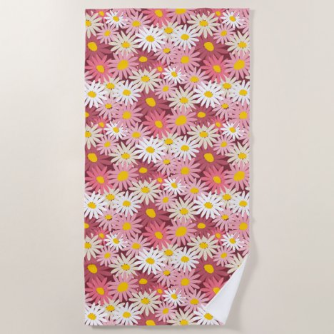 Colorful bold pink and mulberry massed daisies beach towel