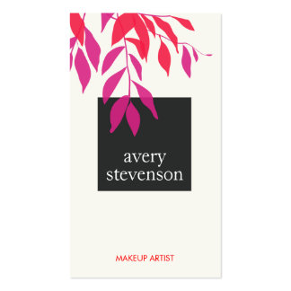 Colorful Bold Pink and Red Leaves Modern Beauty Double-Sided Standard Business Cards (Pack Of 100)