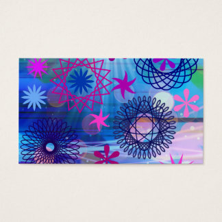Colorful Bold Stars and Light Rays Funky Design Business Card