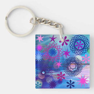 Colorful Bold Stars and Light Rays Funky Design Keychain