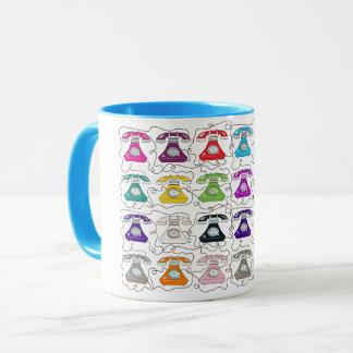 Colorful Bold Telephones Retro Chic Pattern Funny Mug