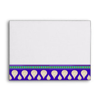 Colorful Bollywood India Blue Green Gold Wedding Envelope