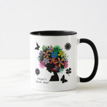 butterfly, flowers, girl, afro, diva, music, illustration, cute, pop, female, street, cool, luv, love, feminine, funny, lovely, kawaii, graphic, design, lady, stylish, colorful, Caneca com design gráfico personalizado