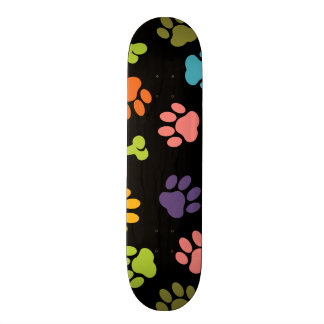 Colorful Bones and Puppy Paw Prints Skateboard