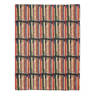 Colorful Book Shelves Abstract Pattern Duvet Cover