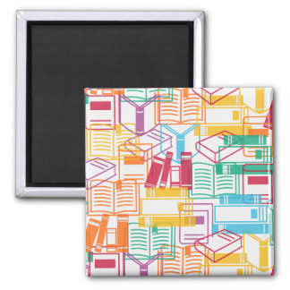 Colorful books binders pattern 2 inch square magnet