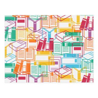 Colorful books binders pattern postcard