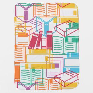 Colorful books binders pattern receiving blanket