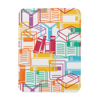 Colorful books binders pattern rectangular photo magnet