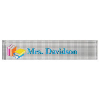 Colorful Books Teacher's Custom Desk Nameplate