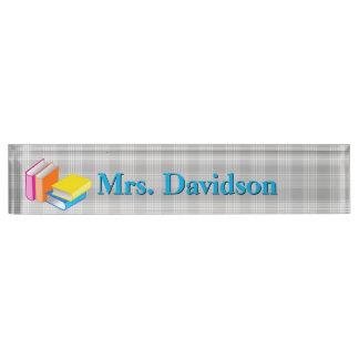 Colorful Books Teacher's Custom Desk Nameplate