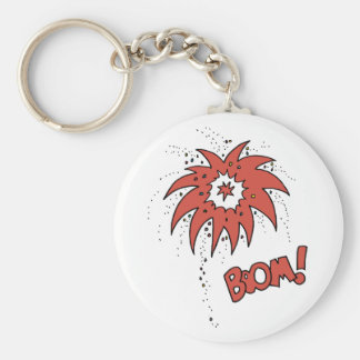 Colorful Boom! Basic Round Button Keychain