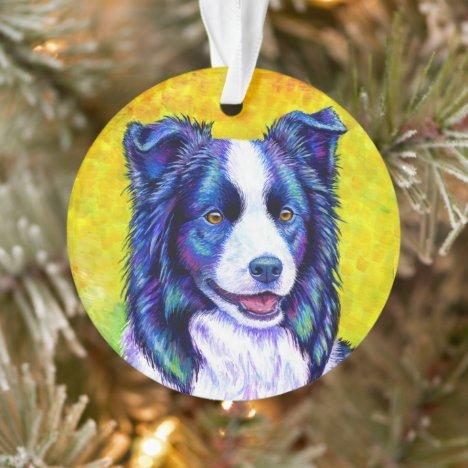 Colorful Border Collie Dog Acrylic Ornament
