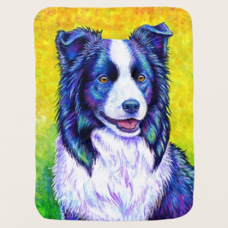 Colorful Border Collie Dog Baby Blanket