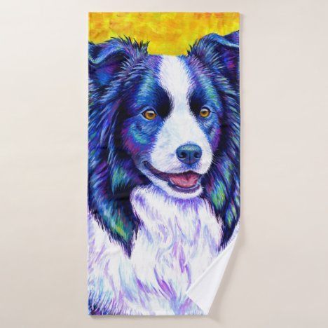 Colorful Border Collie Dog Bath Towel Set