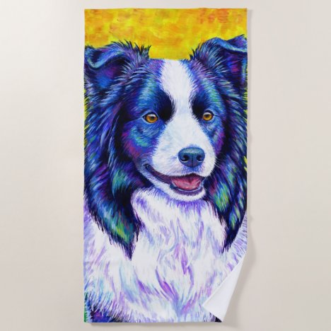 Colorful Border Collie Dog Beach Towel