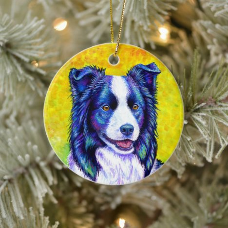 Colorful Border Collie Dog Ceramic Ornament