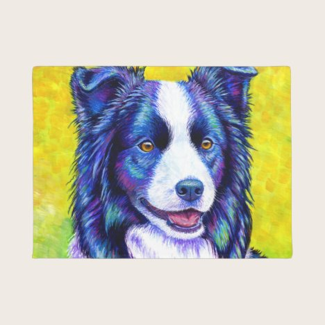 Colorful Border Collie Dog Door Mat