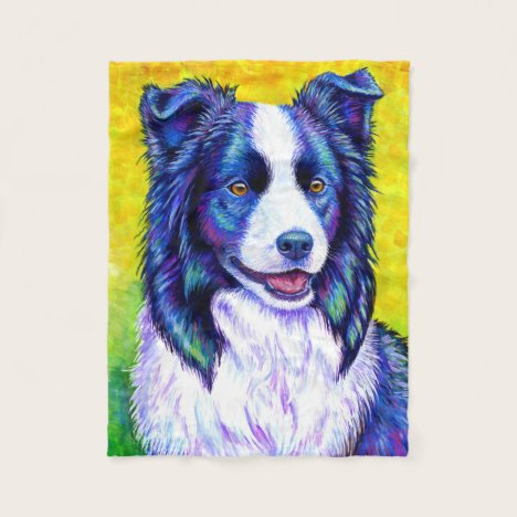 Colorful Border Collie Dog Fleece Blanket