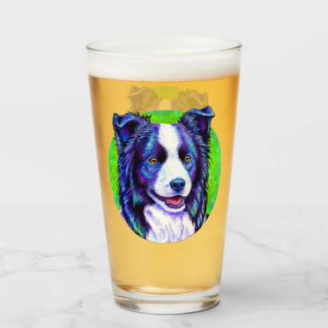 Colorful Border Collie Dog Glass Cup