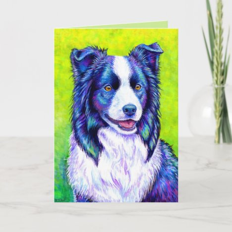 Colorful Border Collie Dog Greeting Card