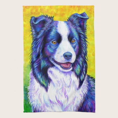 Colorful Border Collie Dog Kitchen Towels