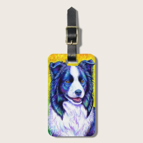 Colorful Border Collie Dog Luggage Tag