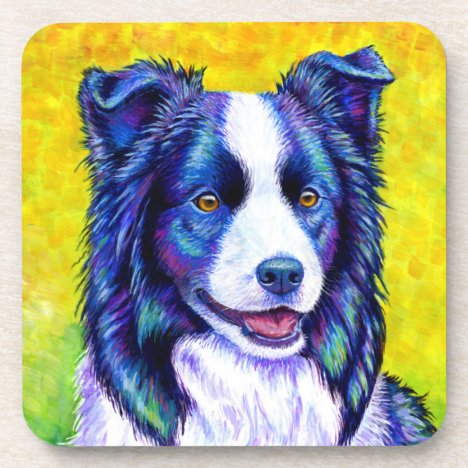 Colorful Border Collie Dog Plastic Coasters