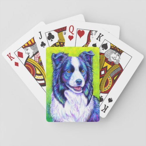 Colorful Border Collie Dog Playing Cards