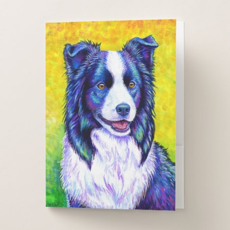 Colorful Border Collie Dog Pocket Folder
