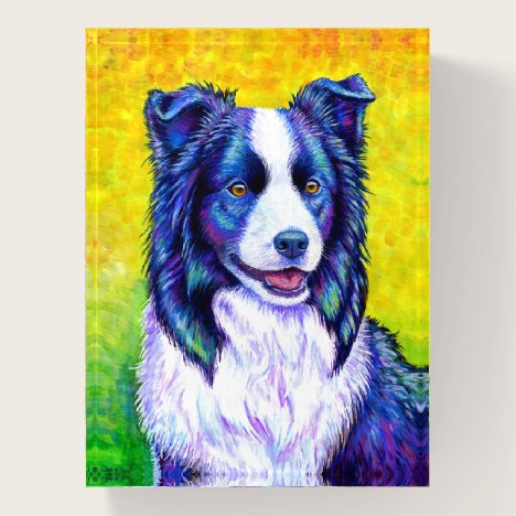 Colorful Border Collie Dog Rectangle Paperweight