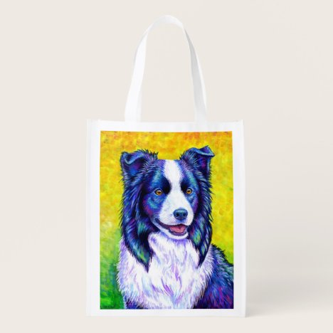Colorful Border Collie Dog Reusable Grocery Bag