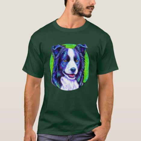 Colorful Border Collie Dog Round T-Shirt
