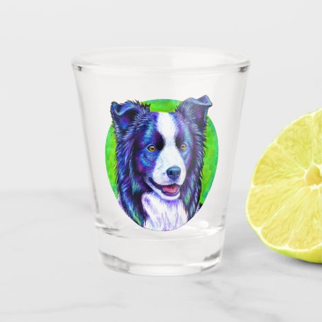 Colorful Border Collie Dog Shot Glass