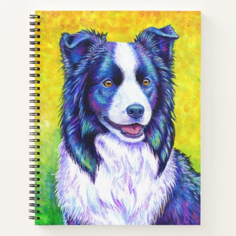 Colorful Border Collie Dog Spiral Notebook