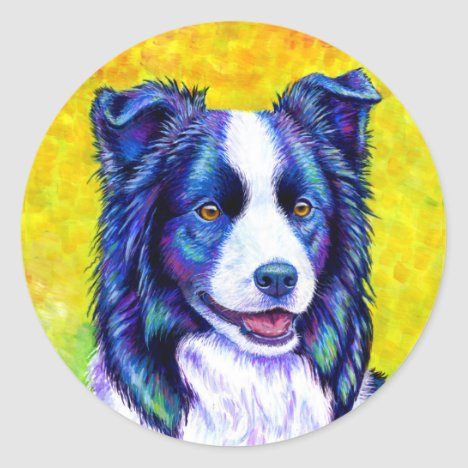 Colorful Border Collie Dog Stickers