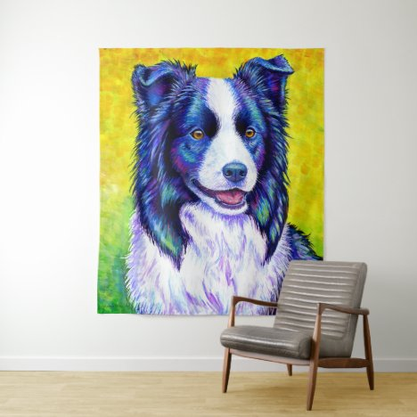 Colorful Border Collie Dog Tapestry