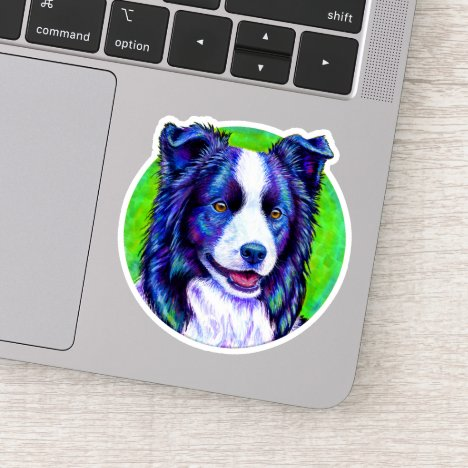 Colorful Border Collie Round Design Vinyl Sticker