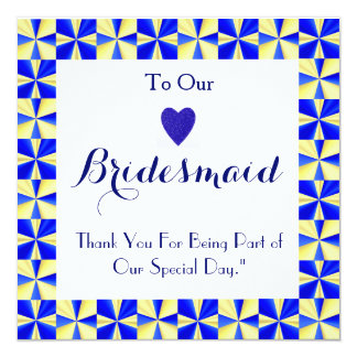 Colorful Border For Being My Bridesmaid Thank You Card