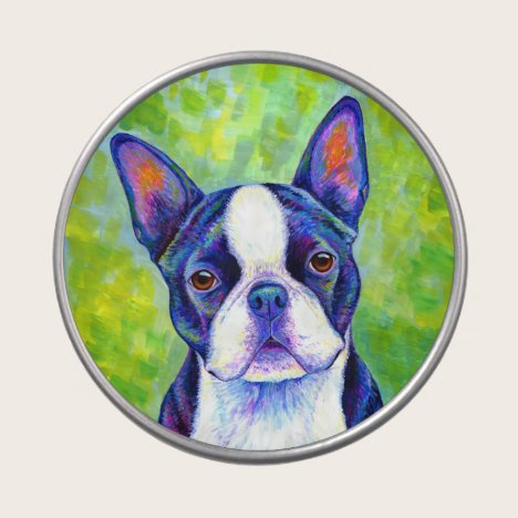 Colorful Boston Terrier Cute Dog Candy Tin