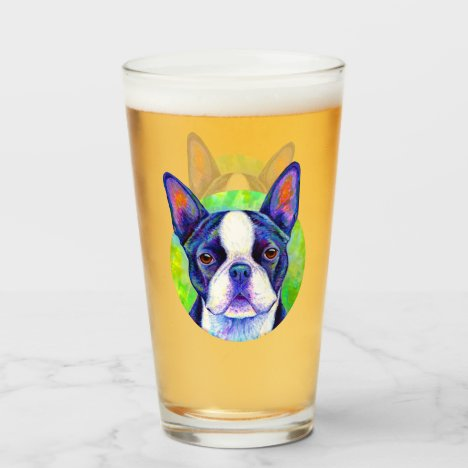 Colorful Boston Terrier Cute Dog Glass Cup