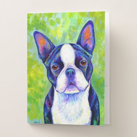 Colorful Boston Terrier Cute Dog Pocket Folders