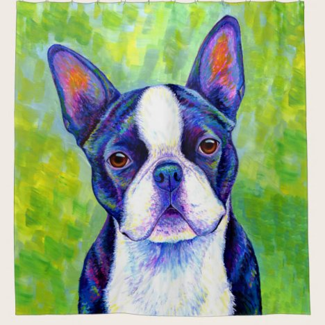 Colorful Boston Terrier Cute Dog Shower Curtain