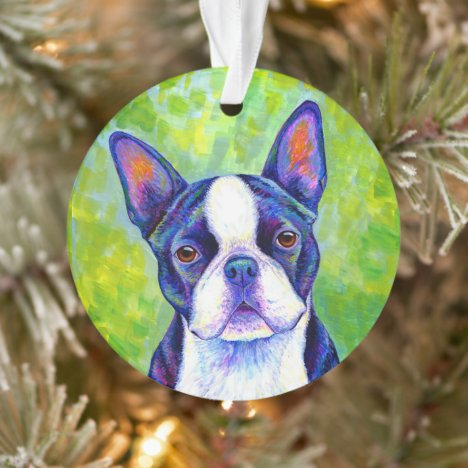 Colorful Boston Terrier Dog Acrylic Ornament