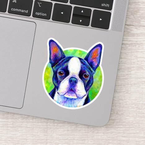 Colorful Boston Terrier Dog Circle Vinyl Sticker