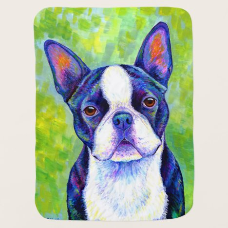 Colorful Boston Terrier Dog Cute Baby Blanket