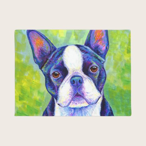 Colorful Boston Terrier Dog Door Mat
